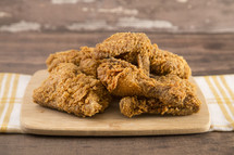 Classic Southern Fried Chicken on a Wood Table