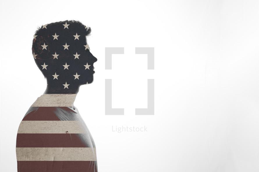 double exposure of patriotic man.