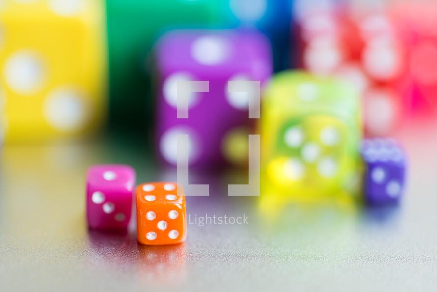 brightly colored dice