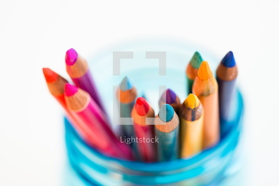 jar of colored pencils