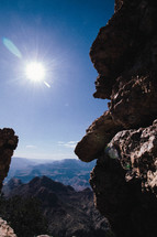 sunburst over a canyon