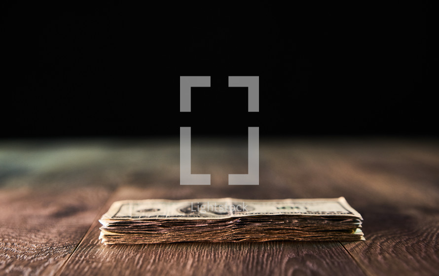 Stack of money on a table