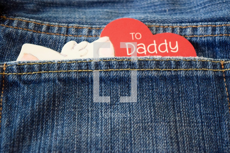 father's day card in a jeans pocket