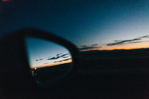 sunset and rearview mirror