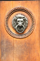 A lion's head door knocker.
