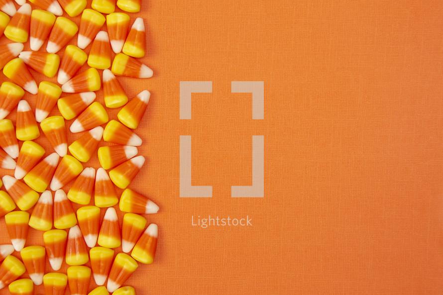 candy corn on orange