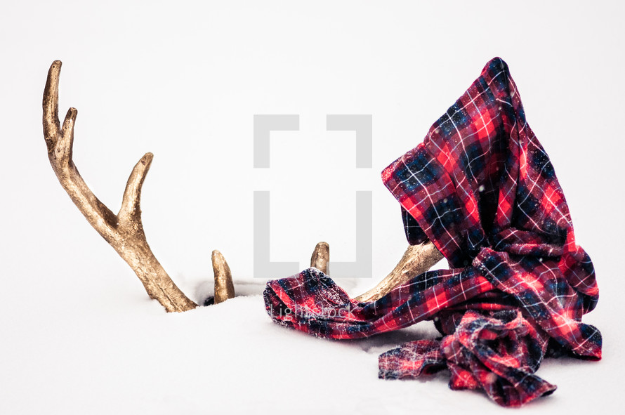 gold deer antlers in snow and a plaid scarf