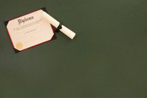 Symbols Representing Graduation on a Chalkboard