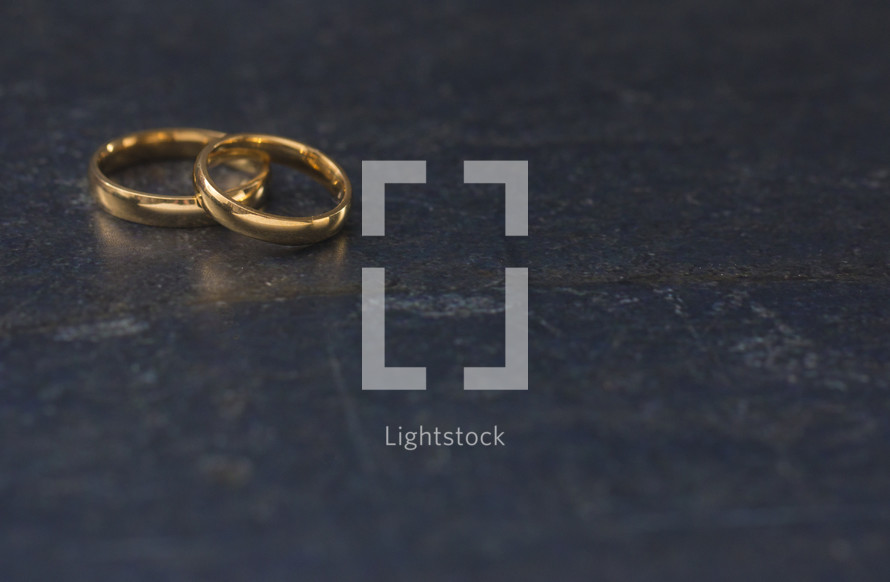 Set of Gold Wedding Rings with Room to Add Text