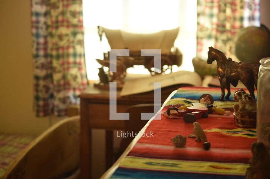 Vintage children's toys in a bedroom