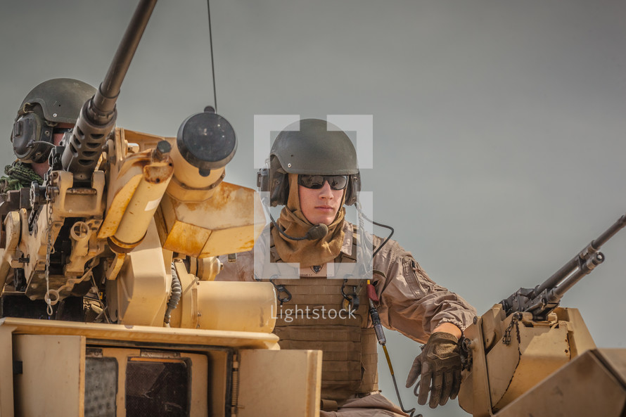 soliders in a tank