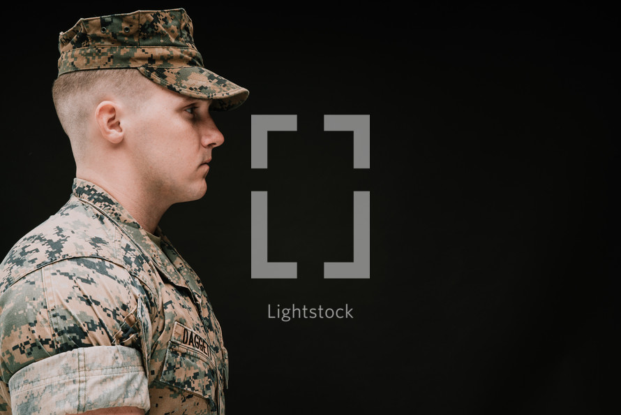 side profile of a soldier