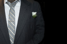 boutonnière on a groom's lapel