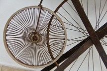 wheels of an antique bicycle