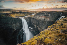 waterfall over a canyon