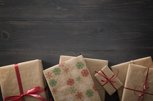 Wrapped Christmas gifts on a table.