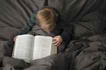toddler flipping through the pages of a Bible