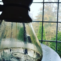 brewing coffee and window