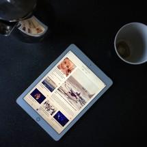creamer, Ipad, and coffee cup