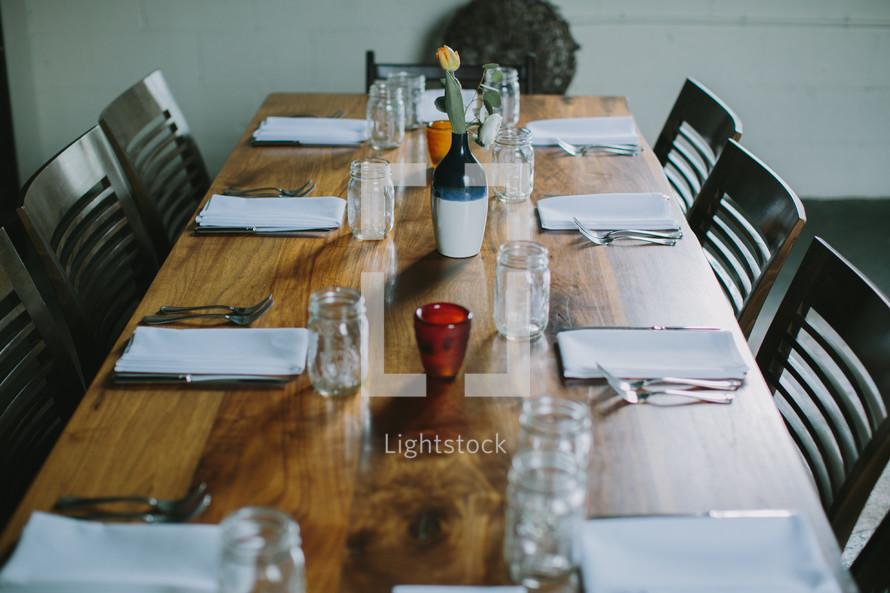 set table at a wedding reception