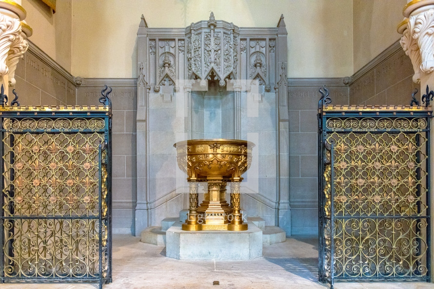 golden baptismal font