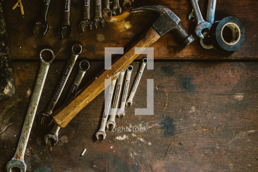 Tools on a workbench.