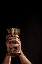 Hands holding a golden communion goblet aloft.