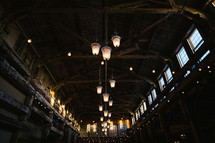 Chandeliers in an old barn