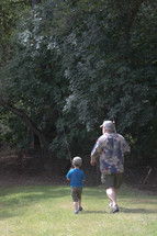 grandson and grandfather fishing