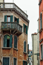 shutters on windows on buildings in Venice, Italy