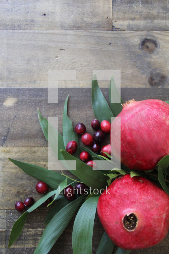 pomegranate and cranberries