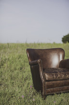 a leather chair alone in a field of tall grass