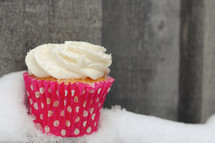 cupcake in snow