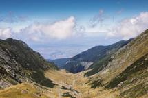 view on serpentines of Transfagaras mountain road, Romania