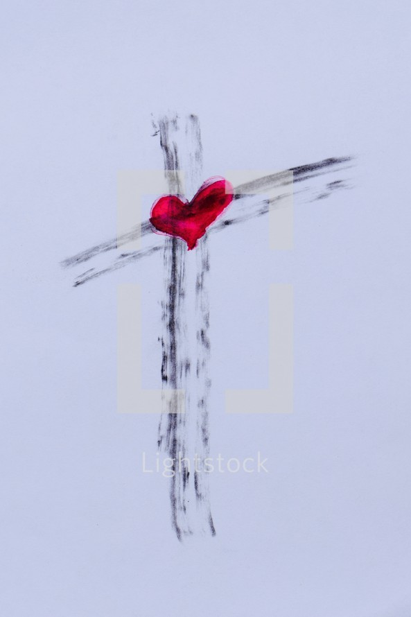 Cross in ashes with a red heart in the center
