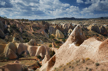 smooth rock formations of Cappadocia, Turkey
