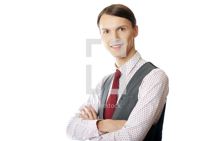 posing businessman