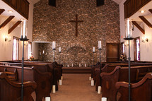 candelabra, altar, pews, church, candles, wedding, cross
