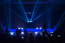 spots lights over a stage