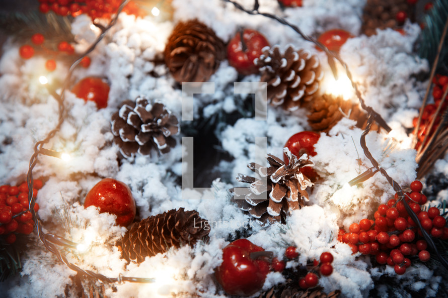 close-up of a Christmas wreath