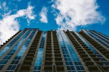 windows on a skyscraper with Blue sky