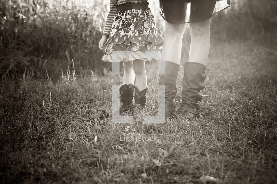 cowboy boots on a mother and daughter