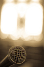 microphone and bright spotlights