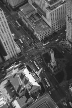 streets and skyscrapers in Chicago
