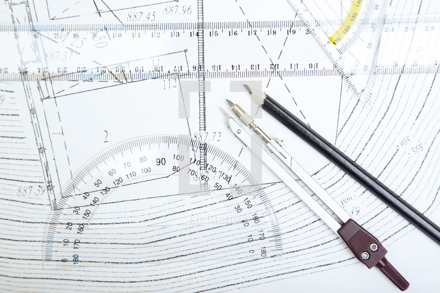 blueprints, protractor, and compass