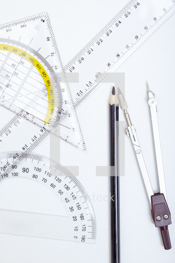 ruler, compass, and protractor