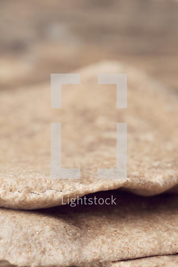 close up of unleavened bread