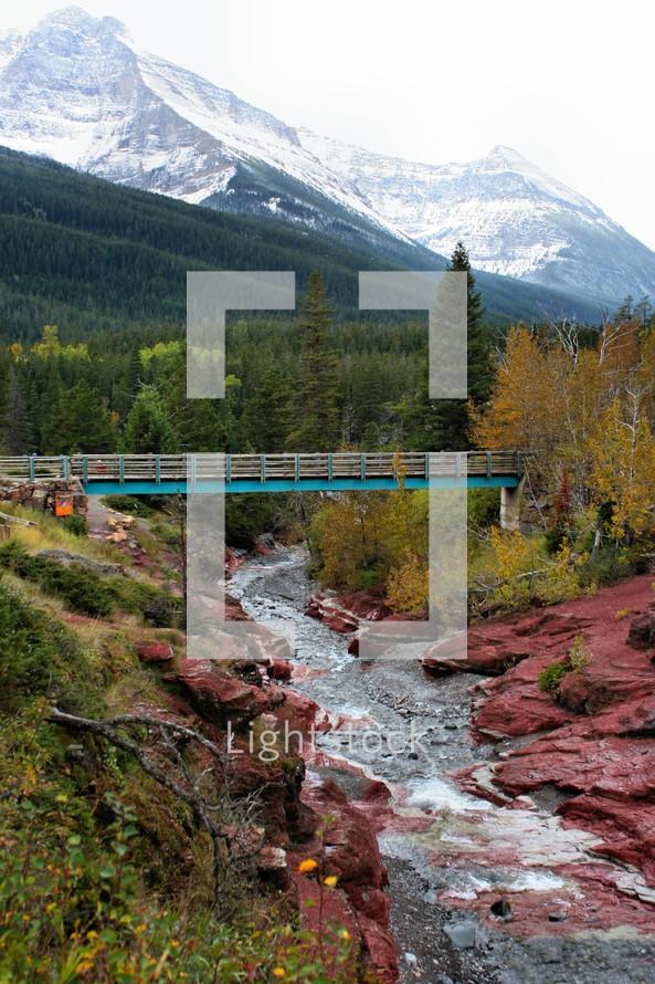 mountain bridge over a river