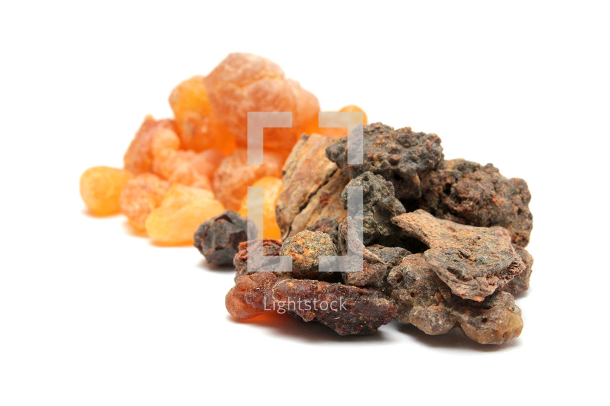 Frankincense resin (in back) and Myrrh resin (in front)