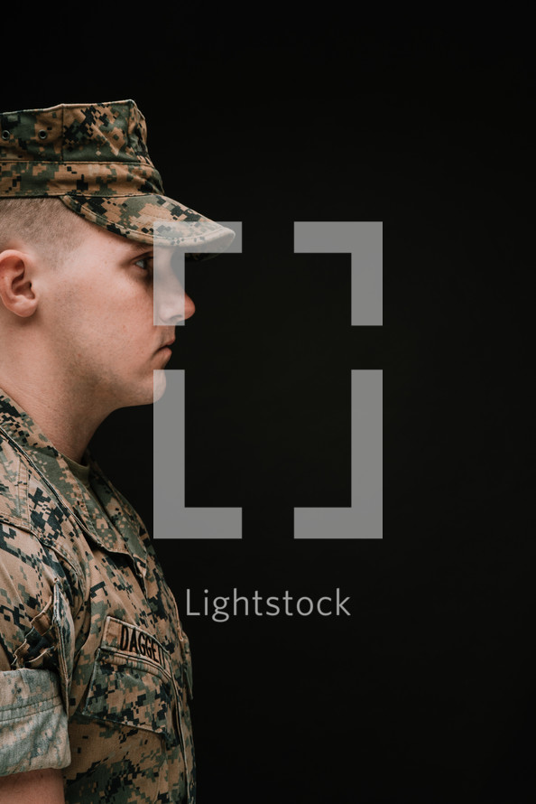 side profile of a Marine in camouflage